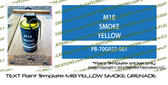 Paint Template: M18 Smoke Grenade Vinyl Die-Cut Template / Decal Sample Photographs of Paint Template Applied to M18 Smoke Grenade * Blue Template discarded after painting*