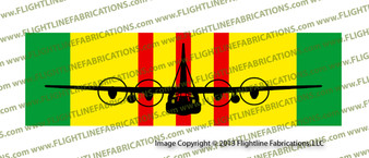 """10"""" x 3"""" Vietnam Service Ribbon with C-130 Hercules  Front View SRVCC130"""