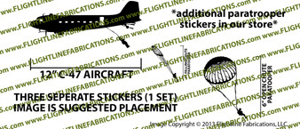 D-Day Airborne Douglas DC-3 C-47 Skytrain Dakota Paratrooper Jump Set Vinyl Die-Cut Sticker / Decal VSAC47PARA
