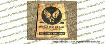 WWII Madras Army Air Base LARGE Hand Made Wood Sign