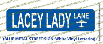 "B-17 Flying Fortress LACEY LADY Blue Metal Street Sign 6"" x24"" (single side) WWII Bomber"