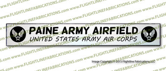 """Paine Army Airfield 4""""x24"""" Distressed Hand Made Wood Door Sign"""