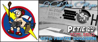 WWII 487th Fighter Squadron John C. Meyer Petie 2nd P-51 Mustang Nose Art