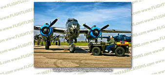 WWII B-25 Mitchell Old Glory & Tug 8x12 Matte Finish Professional Photograph Doolittle Raiders Gathering of B-25's - Grimes, Urbana Ohio