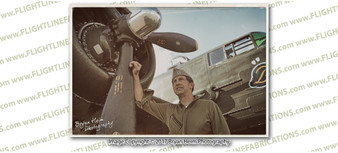 WWII B-25 Barbie III & WWII Pilot 8x12 Matte Finish Professional Photograph Living History Pilot