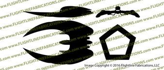Battlestar Galactica Cylon Raider 3-View Vinyl Die-Cut Sticker / Decal VSBSGCR3V