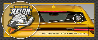 "Oregon Rollin' Reign Roller Hockey 3"" Full Color Die-Cut Vinyl Window Sticker / Decal"