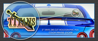 "Titans Roller Hockey 3"" Full Color HOLOGRAPHIC Die-Cut Vinyl Window Sticker / Decal"