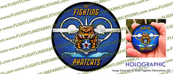 """PBY - Fighting - Phatcats  Catalina Fan Page 3"""" Full Color HOLOGRAPHIC Die-Cut Vinyl Window Sticker / Decal"""