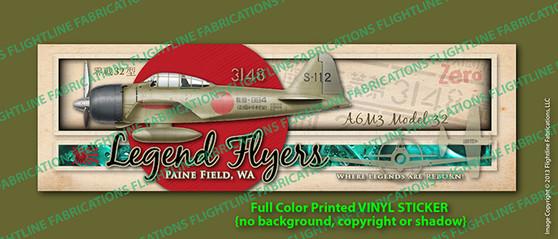Legend Flyers WWII A6M3 32 Japanese Zero Bumper Sticker / Decal