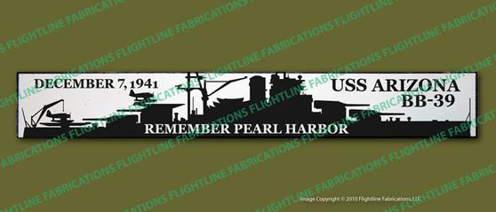 "WWII USS Arizona Pearl Harbor 4""x24"" Distressed Hand Made Wood Door Sign"