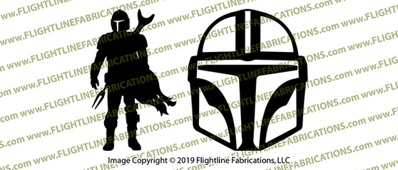 Star Wars Mandalorian FAN MADE Helmet and Silhouette Vinyl Die-Cut Sticker / Decal Set