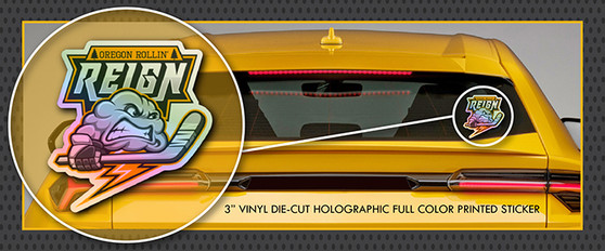 "Oregon Rollin' Reign Roller Hockey 3"" HOLOGRAPHIC Full Color Die-Cut Vinyl Window Sticker / Decal"