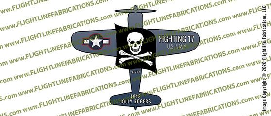 "VF-17 Jolly Rogers F4U Corsair World War II 3"" Full Color Die-Cut Vinyl Window Sticker / Decal"