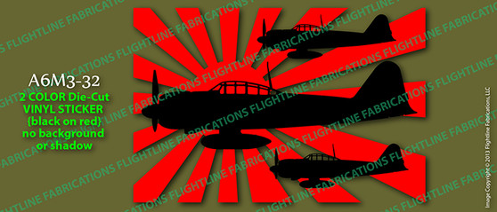 Legend Flyers A6M3 32 Japanese Zero Vinyl Die-Cut Sticker / Decal LFJZA1