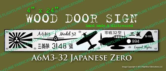 Legend Flyers WWII Mitsubishi A6M3 32 Japanese Zero Wood Door Sign v1