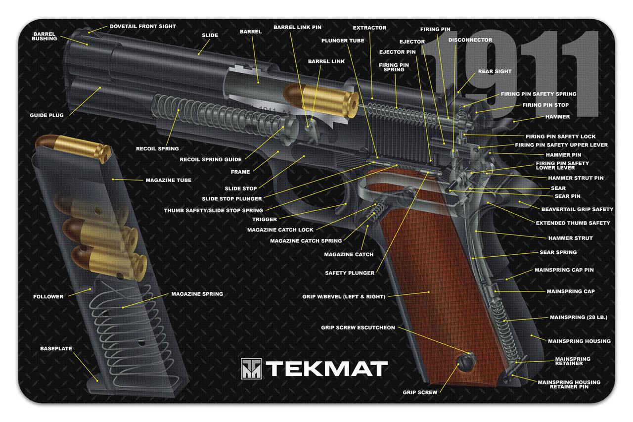 1911 3D Cutaway Mat Handgun Schematics And Diagrams on