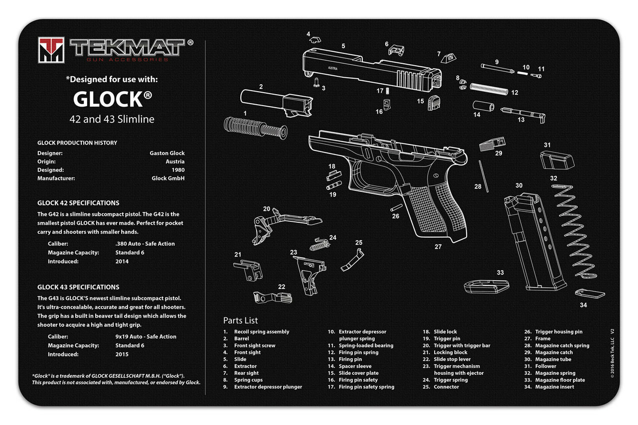 Glock 42 And 43 Gun Cleaning Mat
