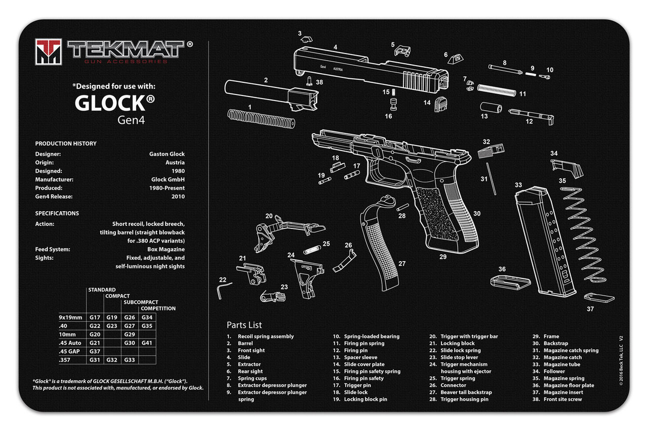 glock gen4 gun cleaning mat Glock 27 Parts Diagram