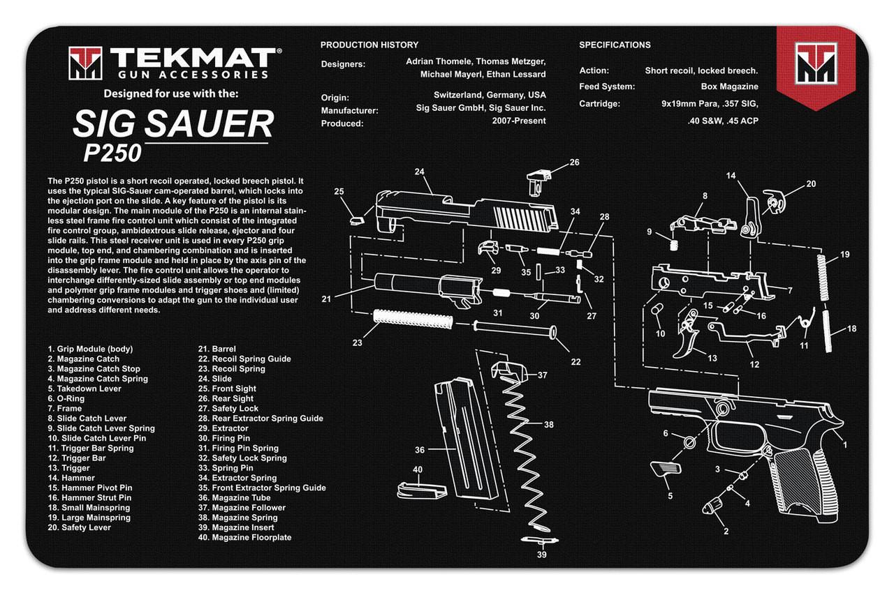 sig sauer p250 tekmat gun cleaning mat features