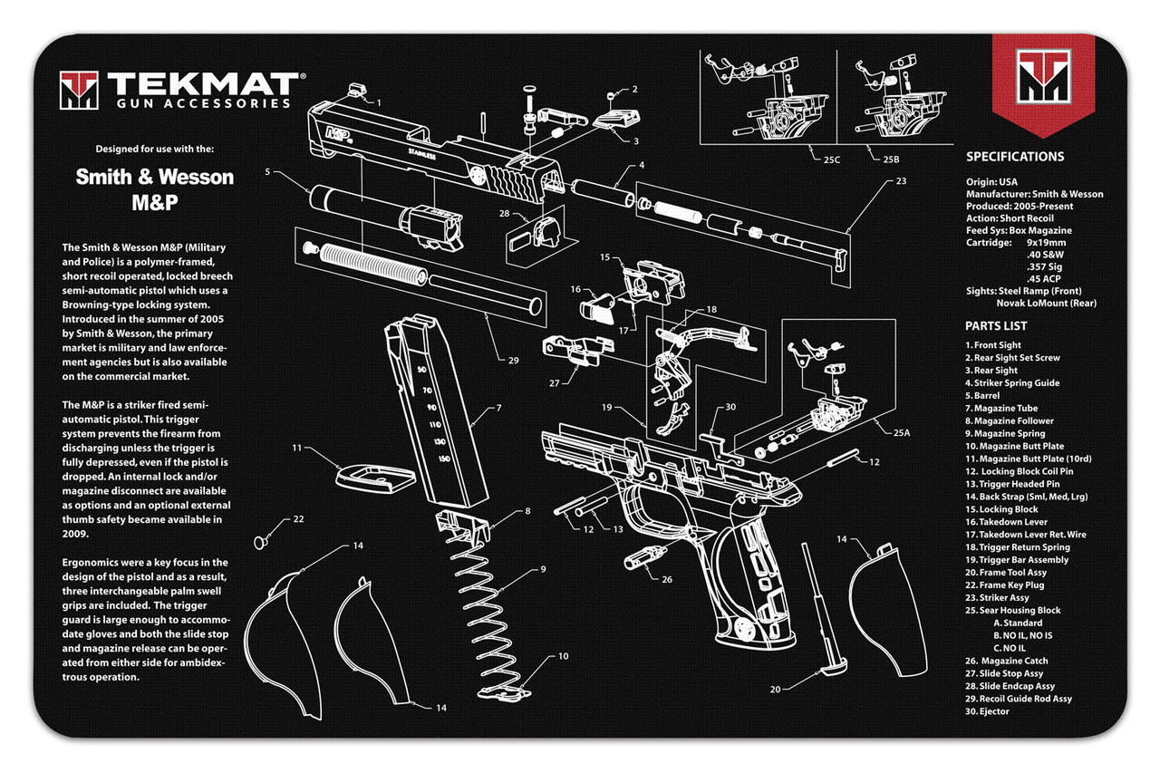Gun Cleaning Mat For Smith Amp Wesson M Amp P