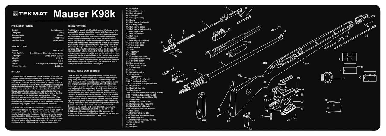 Gun Cleaning TekMat Gun Mat for the Mauser K98 on