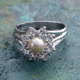 Vintage Pearl and Clear Crystal Ring Genuine Rhodium Plated Made in USA