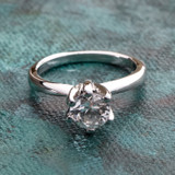 Vintage Genuine Spinel Stone Solitaire Engagement Style Ring 18k White Gold Electroplate
