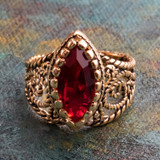 Vintage Ring Ruby Swarovski Crystal Antiqued 18k Yellow Gold Electroplated Filigree Edwardian Style