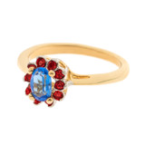 Vintage Sapphire and Ruby Swarovski Crystal 18k Yellow Gold Electroplated Ring Made in USA