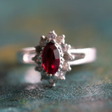 Vintage Ring Ruby and Clear Swarovski Crystals 18kt White Gold Electroplated Made in USA