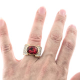 Vintage Ruby and Clear Swarovski Crystal 18k Yellow Gold Electroplated Cocktail Ring Made in USA