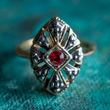 Vintage Antiqued 18k Yellow Gold Electroplated Ring Ruby Swarovski Crystal Edwardian Style