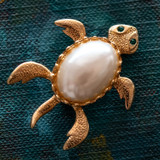 Vintage Turtle Pin White Pearl Bead 18k Yellow Gold Electroplated Made in USA