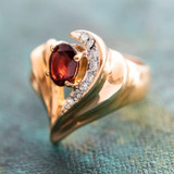 Vintage Genuine Garnet and Clear Swarovski Crystal Ring 18k Yellow Gold Plated Made in USA