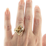 Vintage Genuine Citrine and Clear Swarovski Crystal Ring 18k Yellow Gold Plated Made in USA