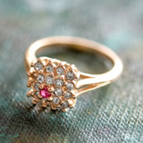 Vintage Genuine Ruby and Clear Swarovski Crystal Ring 18k Yellow Gold Electroplated Made in USA