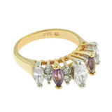 Vintage Genuine Amethyst and Clear Cubic Zirconia Cocktail Ring 18k Yellow Gold Electroplated