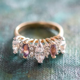 Vintage Genuine Amethyst and Clear Cubic Zirconia Cocktail Ring 18k Yellow Gold Electroplated Made in USA