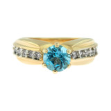 Vintage Ring Genuine Blue Topaz and Clear Swarovski Crystals 18kt Yellow Gold Plated Made in USA