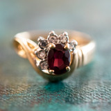 Vintage Ring Genuine Garnet and Clear Swarovski Crystals 18kt Yellow Gold Plated Made in USA