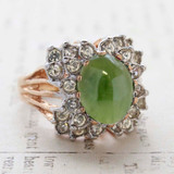 Vintage Genuine Jade Cabochon Stone Cocktail Ring - Clear Swarovski Crystals - 18kt Yellow Gold Electroplated - Made in the USA
