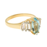 Vintage Ring Genuine Blue Topaz and Clear Swarovski Crystals 18kt Yellow Gold Plated Made in USA R2604