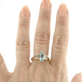 Vintage Ring Genuine Blue Topaz and Clear Swarovski Crystals 18kt Yellow Gold Plated