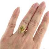 Vintage Genuine Jade with Clear Swarovski Crystals Cocktail Ring 18k Yellow Gold Electroplated