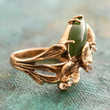 Vintage Genuine Jade Calla Lily Ring Antiqued 18k Yellow Gold Electroplated Made in USA