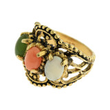 Vintage Genuine Cabochon Opal, Jade, and Coral Cocktail Ring Antiqued 18k Yellow Gold Electroplated