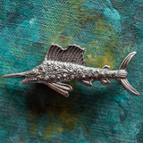 Vintage Fish Pin Genuine Marchasite 18k White Gold Electroplated