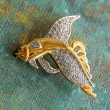 Vintage Fish Pin Clear Swarovski Crystals 18kt Yellow Gold Electroplated Made in USA