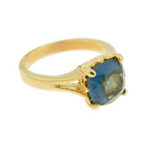 Sapphire Swarovski Crystal Ring 18k Yellow Gold Electroplated Made in the USA